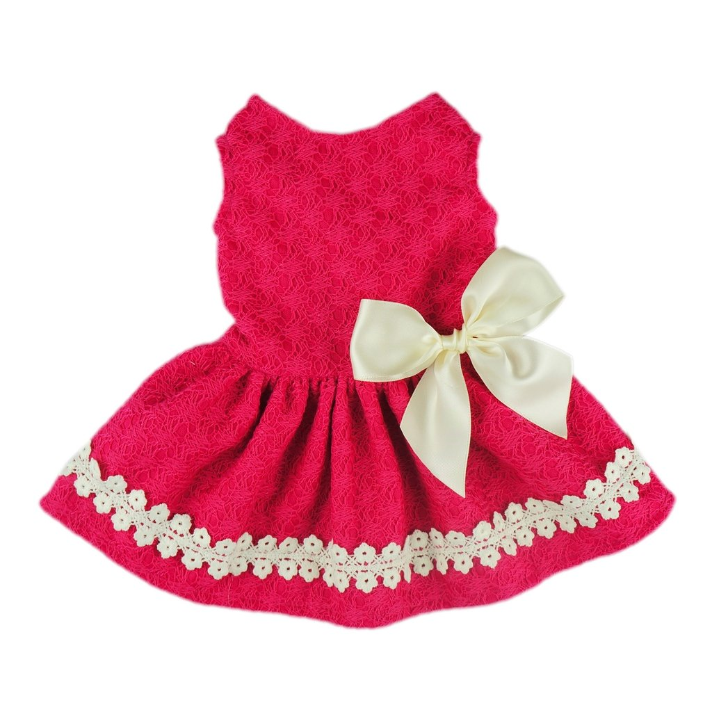 Fitwarm Pink Sweet Pet Dog Dress Lace Ribbon Clothes Shirts - M