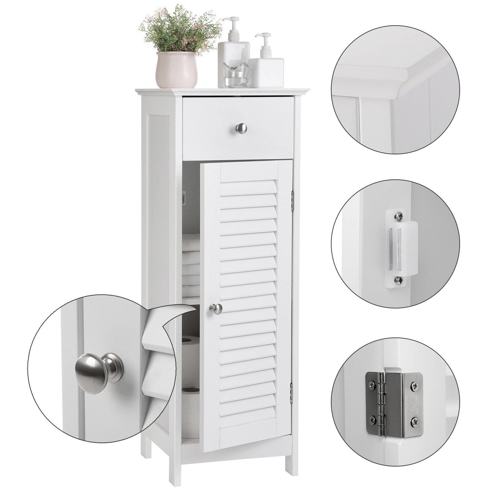 Bathroom Floor Cabinet Storage Organizer Set Free Standing with Drawer and Door