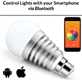 Mansaa MAA01-9W2080H0B22 SmartShine Base B22 9-Watt Bluetooth Wireless LED Bulb (Silver)