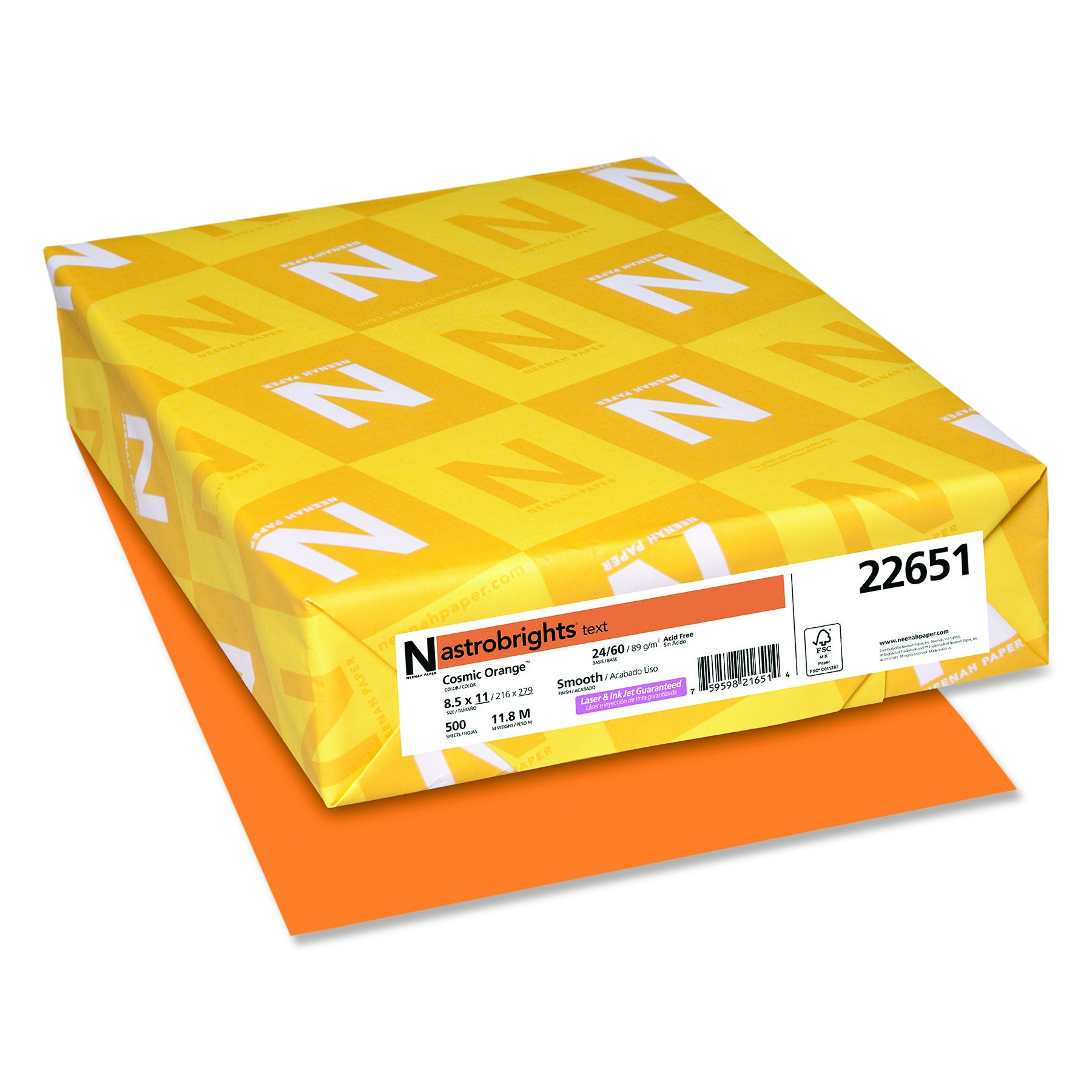 Wasusau Astrobrights Heavy Duty Paper, 24 lb, 8.5 x 11 Inches, Cosmic Orange, 500 Sheets (22661) by Neenah