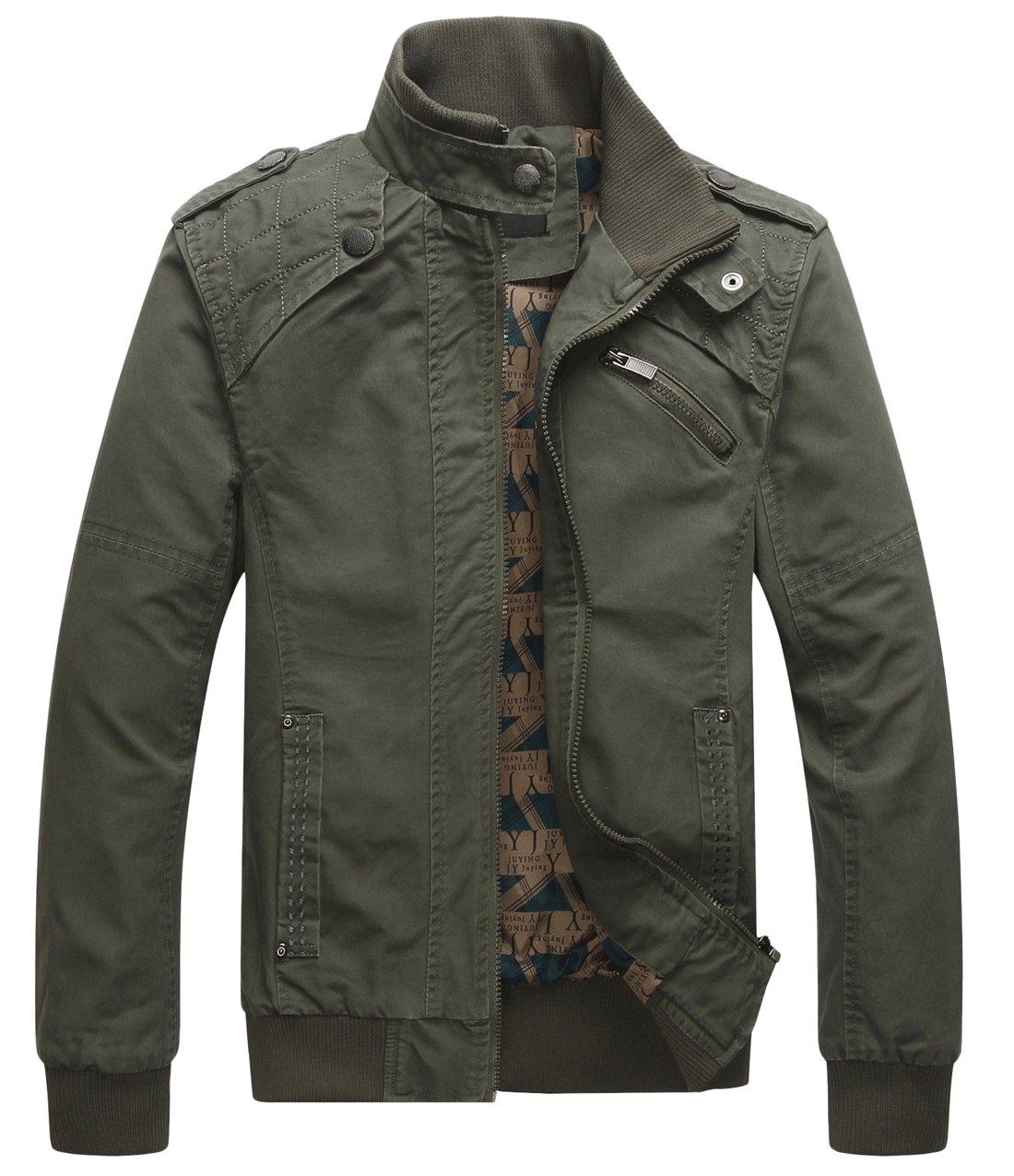 chouyatou Men's Casual Long Sleeve Full Zip Jacket with Shoulder Straps (Medium, Army Green) by chouyatou