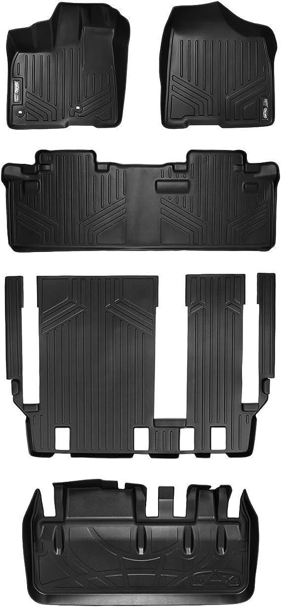 SMARTLINER Custom Floor Mats 3 Rows and Cargo Liner Behind 3rd Row Set Black for 2013-2019 Toyota Sienna 8 Passenger Model