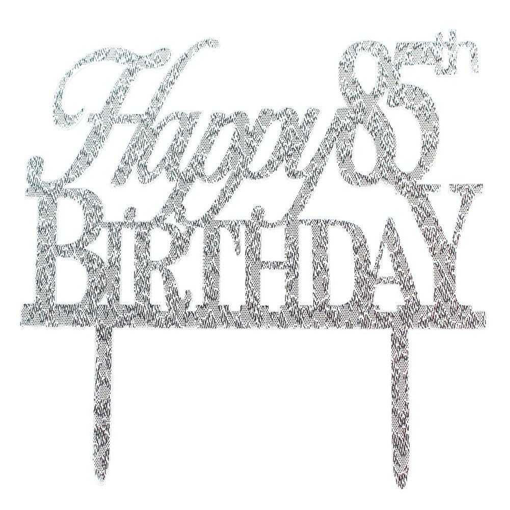 Glitter Silver Acrylic Happy 85th Birthday Cake Topper Decorations, 85 Birthday Anniversary Party Cupcake Topper Decor (85, silver)