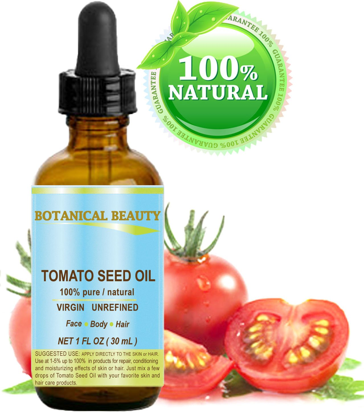 TOMATO SEED OIL. 100% Pure/Natural/Virgin/Undiluted/Cold Pressed for Skin, Hair and Lip Care. 1 oz.- 30 ml.