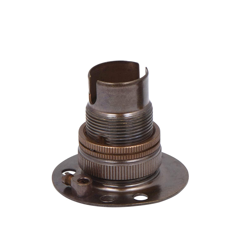 Antique Brass Lamp Holder Fixed Batten SBC B15 Shade Ring Buy It Better