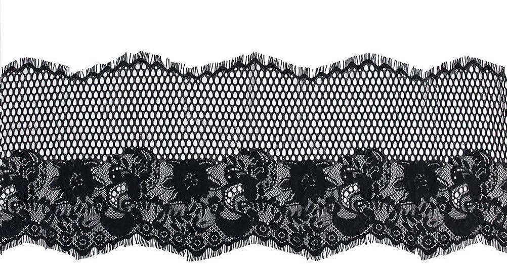 VORCOOL 3 Verges Large Dentelle Couture Bricolage Appliques Noir