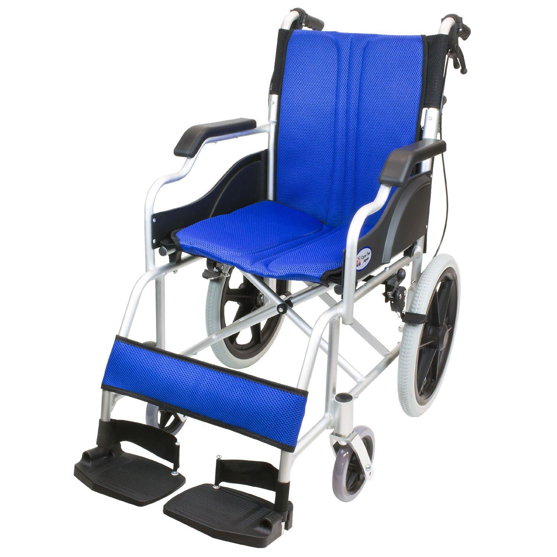 ケアテックジャパン 介助式車椅子 ハピネスコンパクト -介助式- CA-13SU (ブルー(青色)) B078CQKZHF  ブルー(青色)