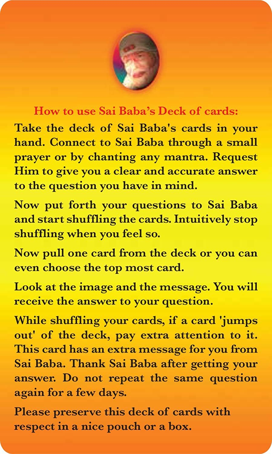 Sai Baba Oracle Cards English Deck of 54 Cards,Standard,Multicolour