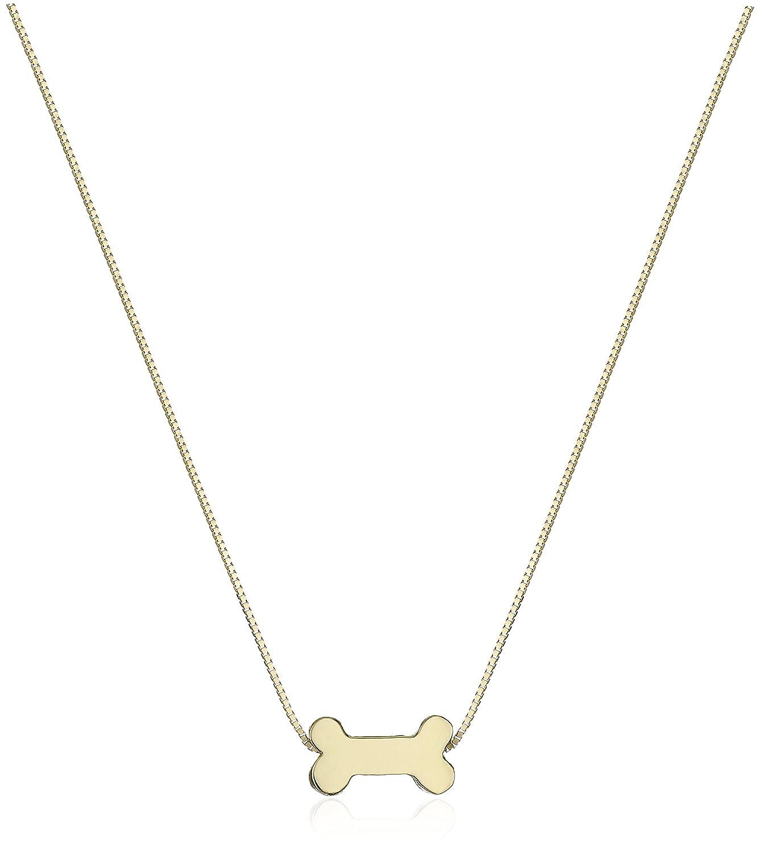 Amazon 14k Yellow Gold Floating Miniature Dog Bone Pendant