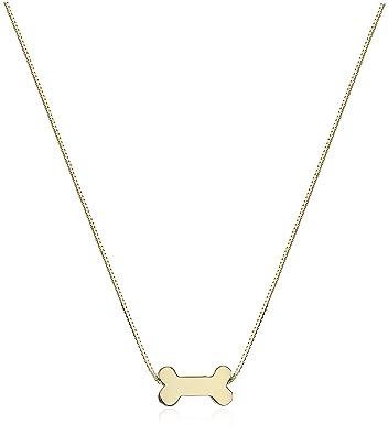 Amazon 14k yellow gold floating miniature dog bone pendant 14k yellow gold floating miniature dog bone pendant necklace 17quot aloadofball Images