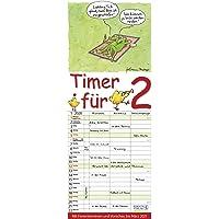 Timer für 2 2020: Familienplaner mit 3 breiten Spalten. Familienkalender mit Tier-Comics, Ferienterminen, Vorschau bis März 2021 und tollen Extras. 19 x 47 cm