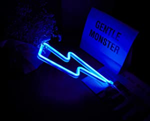 Blue LED Lightning Bolt neon Signs for Wall Decoration Battery and USB Operated Aesthetic Room Decor neon Sign neon Lights for Kids Room, Bar, Living Room, Christmas, Party, Wedding, Halloween