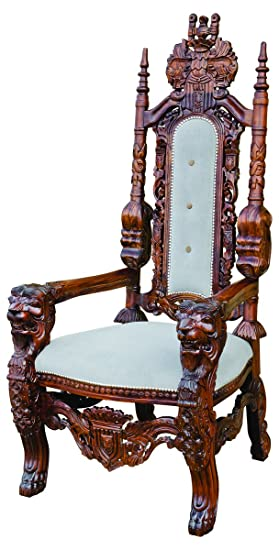 Brilliant Febland Traforata Throne Chair Wood Brown And Grey Small Beutiful Home Inspiration Ommitmahrainfo