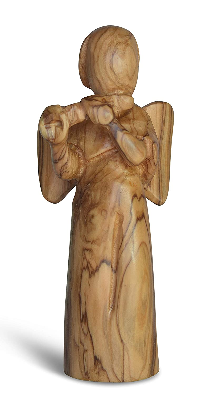 Figura Santa Engel aus Olivenholz. Moderner Stil. Flöte spielend. Höhe 13 cm. Handgeschnitzt aus Olivenholz.