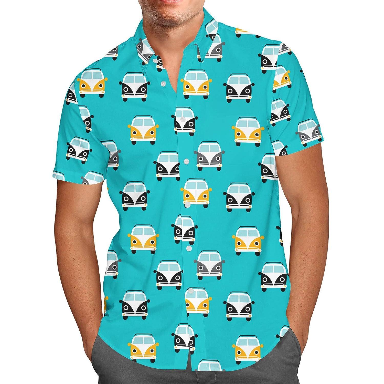 Summer Camper Van Retro Mens Button Down Short Sleeve Shirt