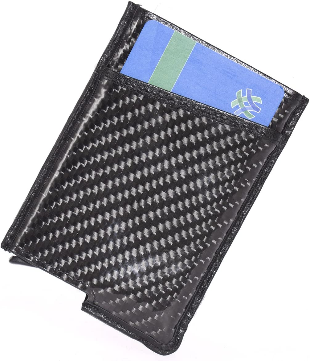 Slim Money Clip Card Case Holder RFID Blocking Carbon Fibre Front Pocket Wallet