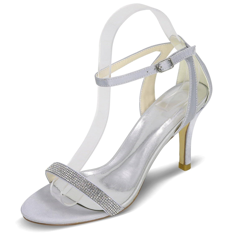 Elobaby Zapatos De Boda De Las Mujeres Bombas Cintas Rhinestones Prom Peep Toe Satin/35-43 Size/12.5Heel 35 EU|Silver
