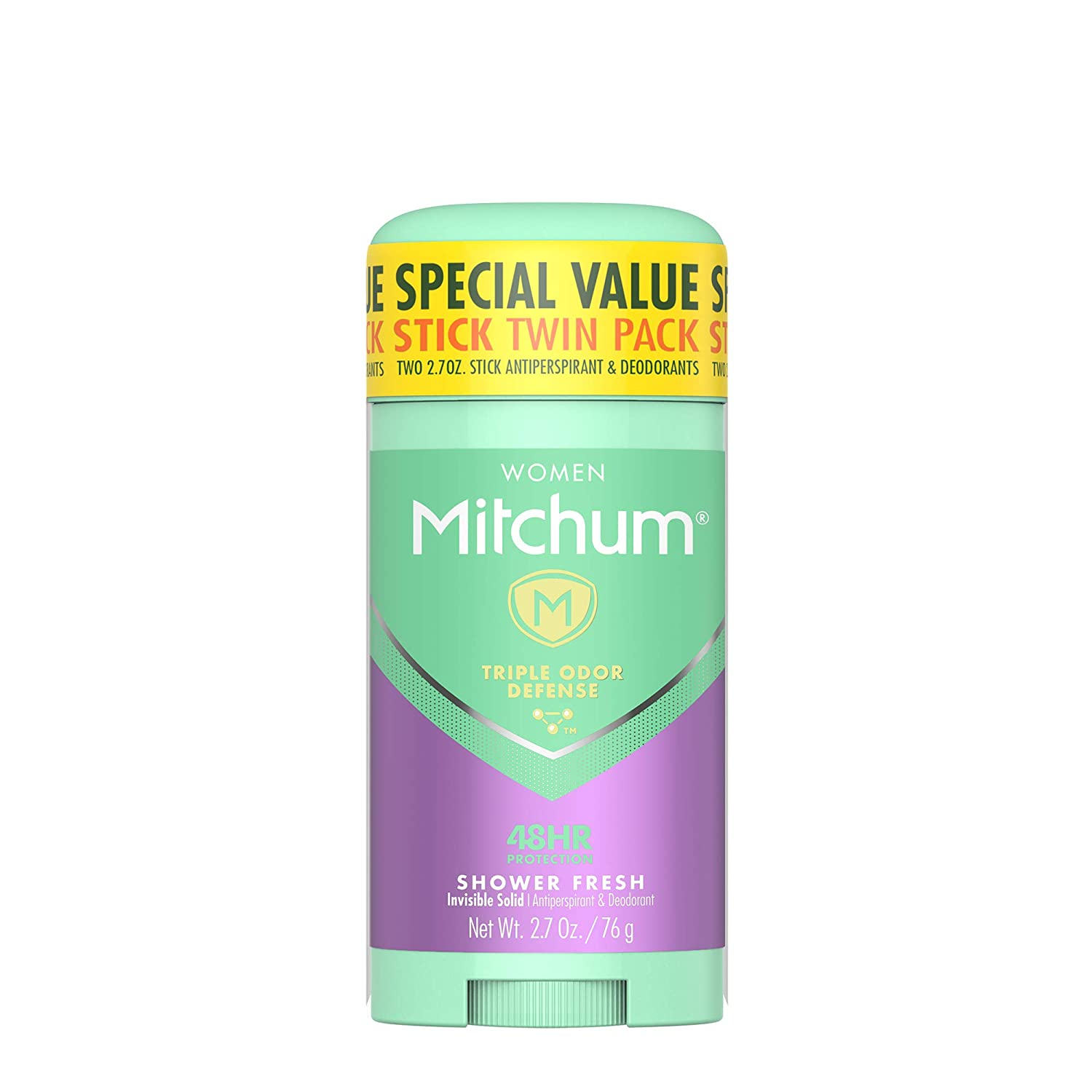 Mitchum Women Invisible Solid Antiperspirant Deodorant, Shower Fresh, 2.7 Ounce (Pack of 2)