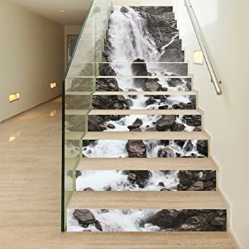 Funlife Stair Riser Art Mountain Stream Waterfall Pattern Decorative Stair  Riser Decal   Stair Stickers Decals