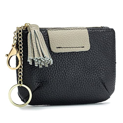 a3b7be5b4b Aladin Large Coin Change Purse Keychain Wallet with Key Ring   Tassels Zip  Tab Black