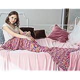 Mermaid Schwanz Decke mit Regenbogen -Streifen, weiches Sofa wirft Decke für Erwachsene und Kinder(Regenbogen, 74.8x35.4Zoll)