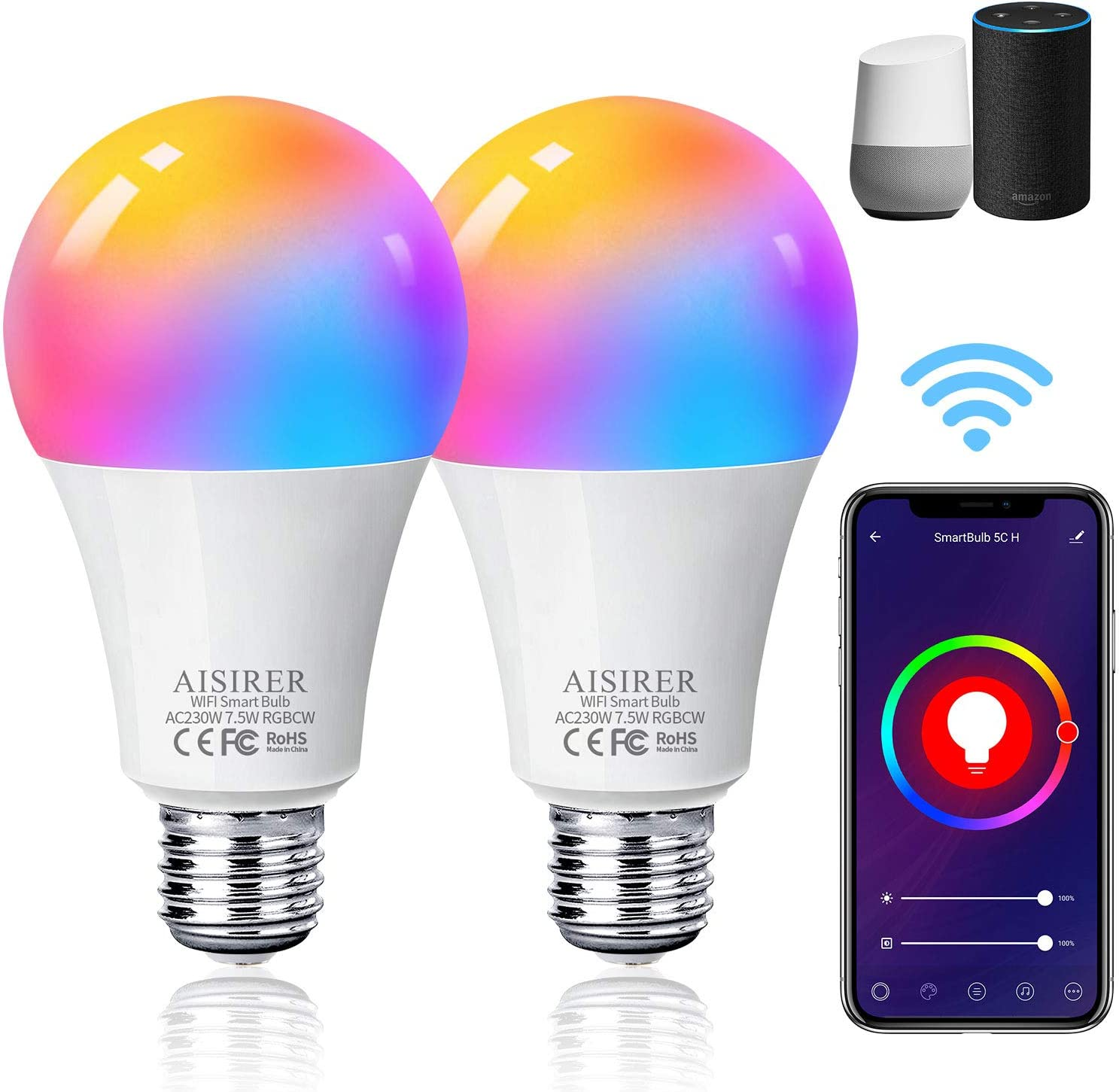 AISIRER Smart Lampe WLAN Glühbirnen Wifi LED Light Bulb E27