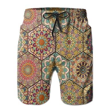 Flower Pattern Boardshorts Mens Swimtrunks Fashion Beach Shorts Casual Shorts Swim Trunks