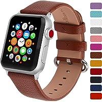 Fullmosa Klassische Litichi Leder Watch Armband Kompatibel für Apple Watch Series 5/4/3/2/1, 12 Farben iWatch Armband geeignet für Männer und Frauen Silber 40mm 44mm 38mm 42mm