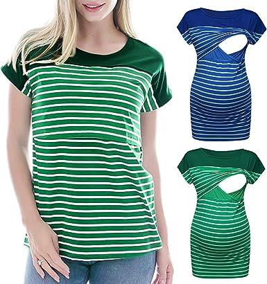 Camiseta de Mujer Lactancia Rayas, premamá Camisa Maternidad Blusa de Manga Corta Camiseta: Amazon.es: Ropa y accesorios