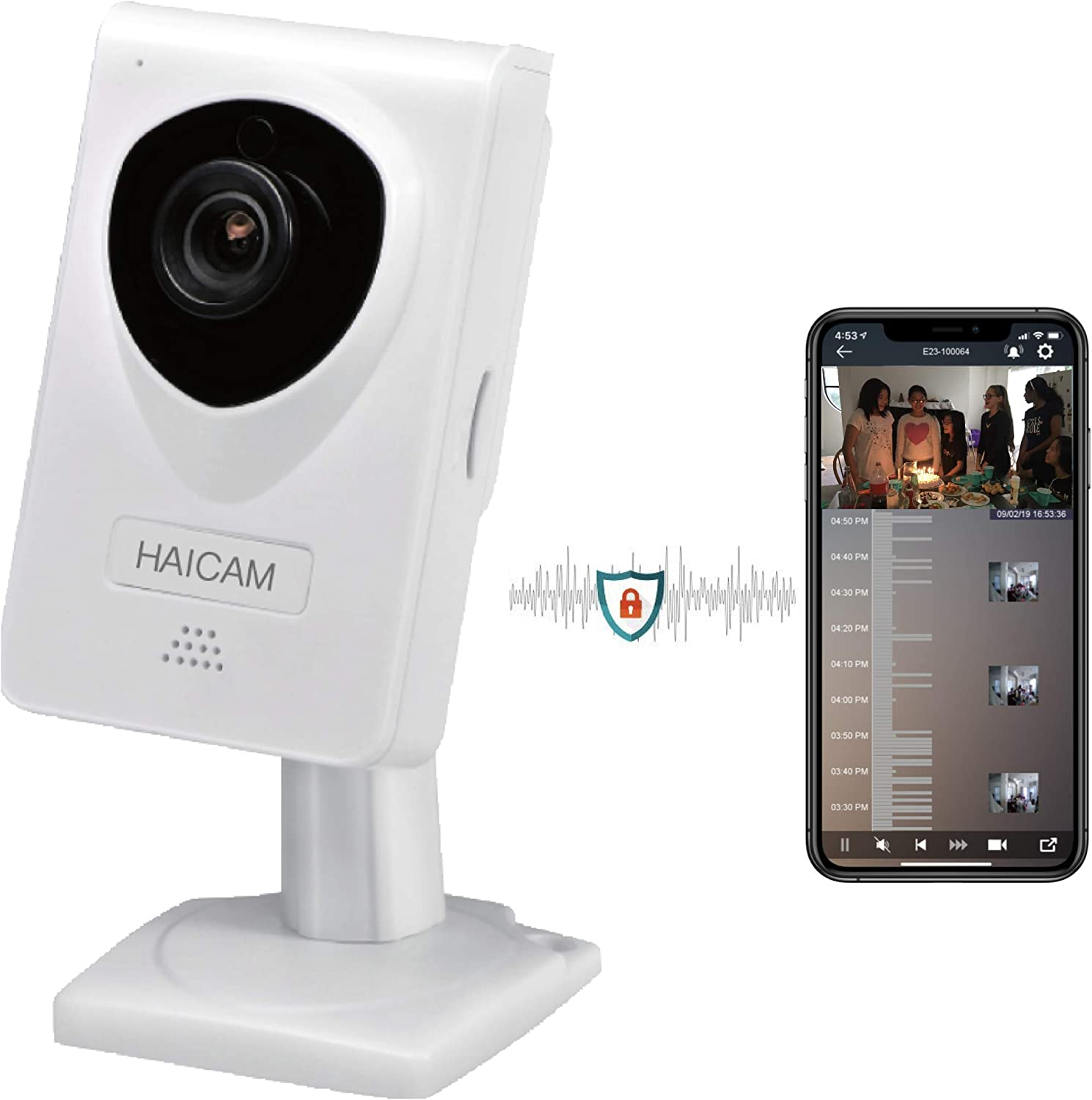IP Security Camera Play Time-Lapse Video History in iOS//Android//Windows//Mac//TV Apps Regular Haicam E21 End-to-end Encryption E2EE White 2 Years Free Cloud Recording