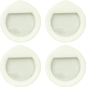 Pyrex Ultimate OV-7200 White Round Glass Storage Lids - 4 Pack
