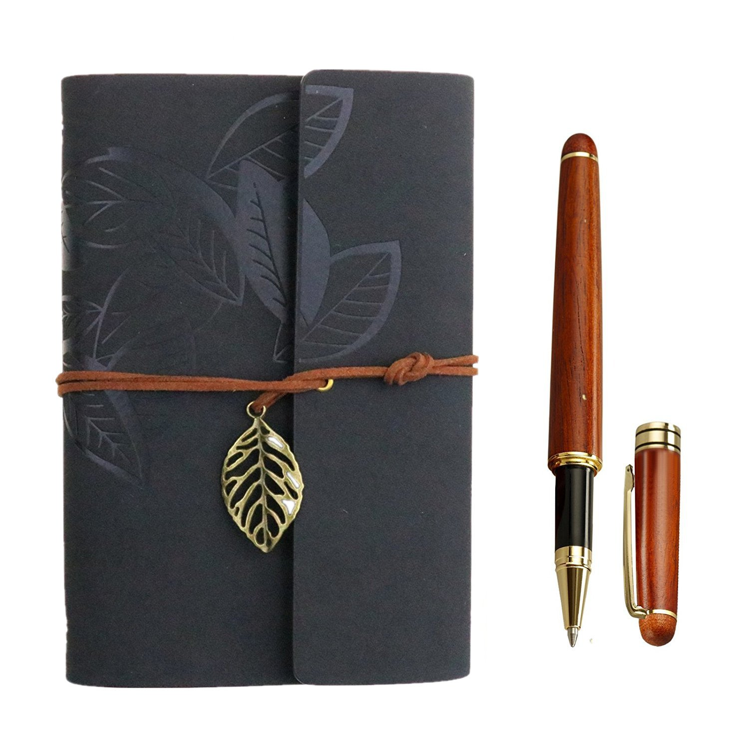 Loose Leaf Blank Leather Journal And Notebooks With Rosewood Ballpoint Pen Set, 7'' x 5'' Spiral journal Classic Spiral Bound Notebook Refillable Sketchbook Gifts, Journals To write In For Women-Black