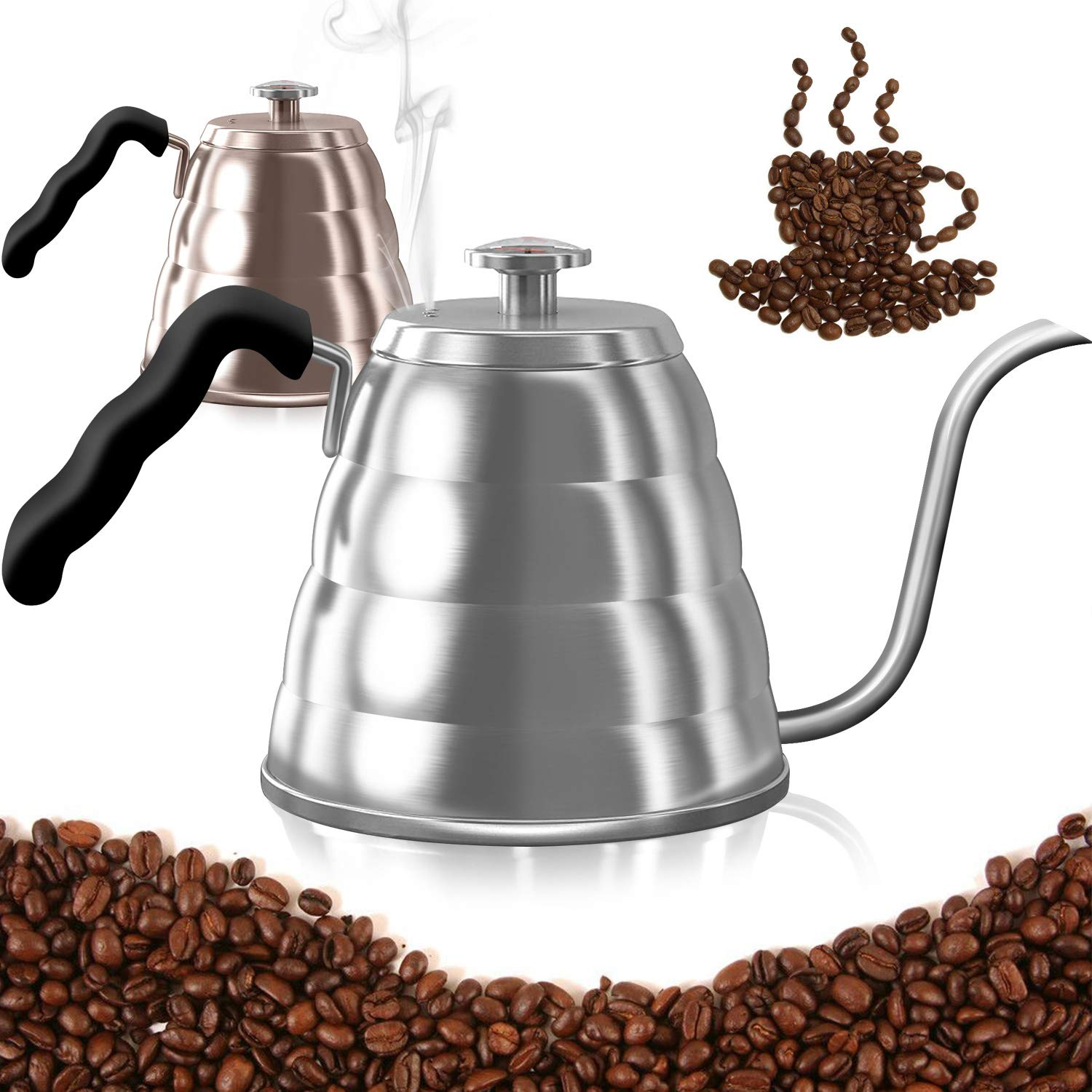Dealz Frenzy Gooseneck Kettle-Pour Over Coffee Kettle with Thermometer,Stovetop Tea Pot-Triple Layer 18/8 Stainless Steel Drip Kettle,Induction Stove Safe,FDA, (40 floz, silver)...