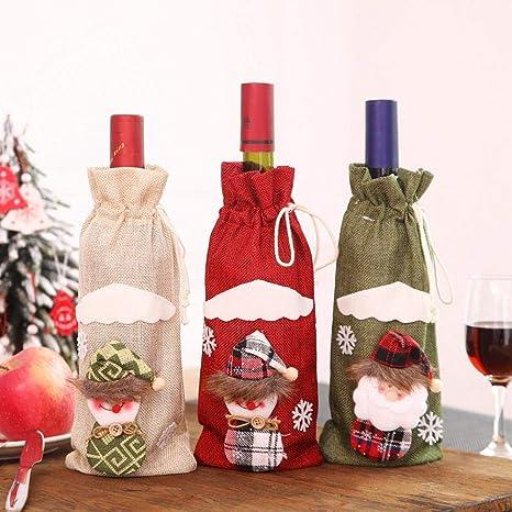 Compra Ranget 3 Piezas de Navidad Botella de Vino Cubierta de Botellas de Vino Cubre Bolsas para la decoración de la Mesa, decoración de Navidad en Amazon.es