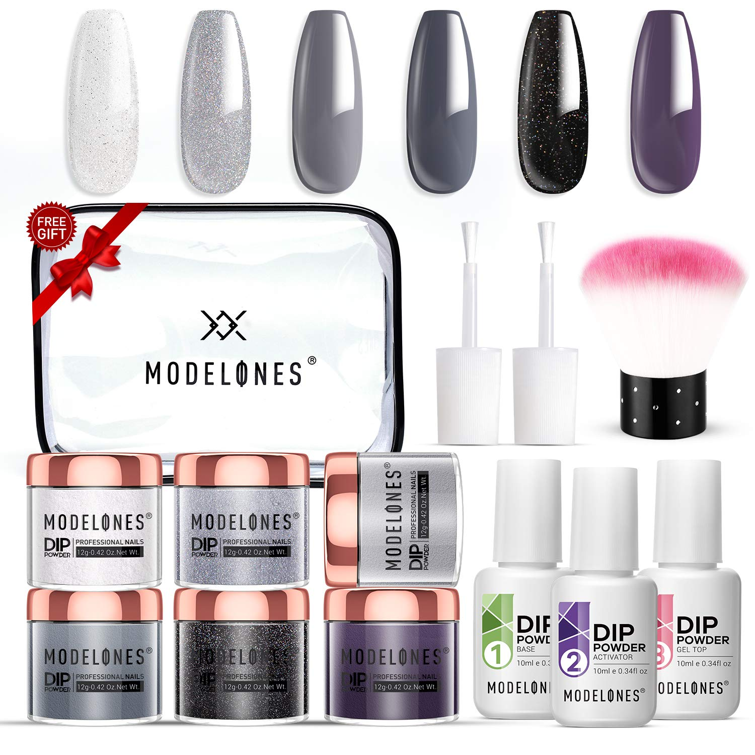Dipping Powder Starter Kit with 6 Color, Dipping Nail Starter Kit Dip System Acrylic Dip Nail Kit for French Nail Style No Lamp Needed Quick Do Nail at Home Portable Kit for Travel