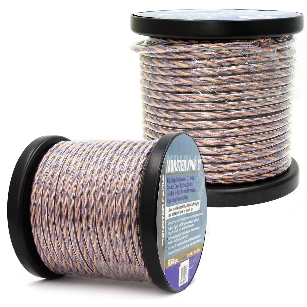 2 MONSTER CABLE 100 FOOT ROLLS = 200 FEET SPEAKER WIRE HOME THEATER OR CAR AUDIO by Monster
