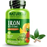 NATURELO Vegan Iron Supplement with Whole Food Vitamin C - Best Natural Iron Pills for Women & Men w/ Iron Deficiency…