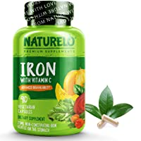 NATURELO Vegan Iron Supplement with Whole Food Vitamin C - Best Natural Iron Pills...