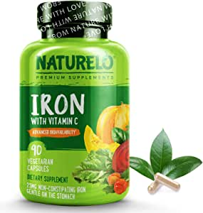 NATURELO Vegan Iron Supplement with Whole Food Vitamin C - Best Natural Iron Pills for Women & Men w/ Iron Deficiency Including Pregnancy, Anemia and Vegan Diets - 90 Mini Capsules