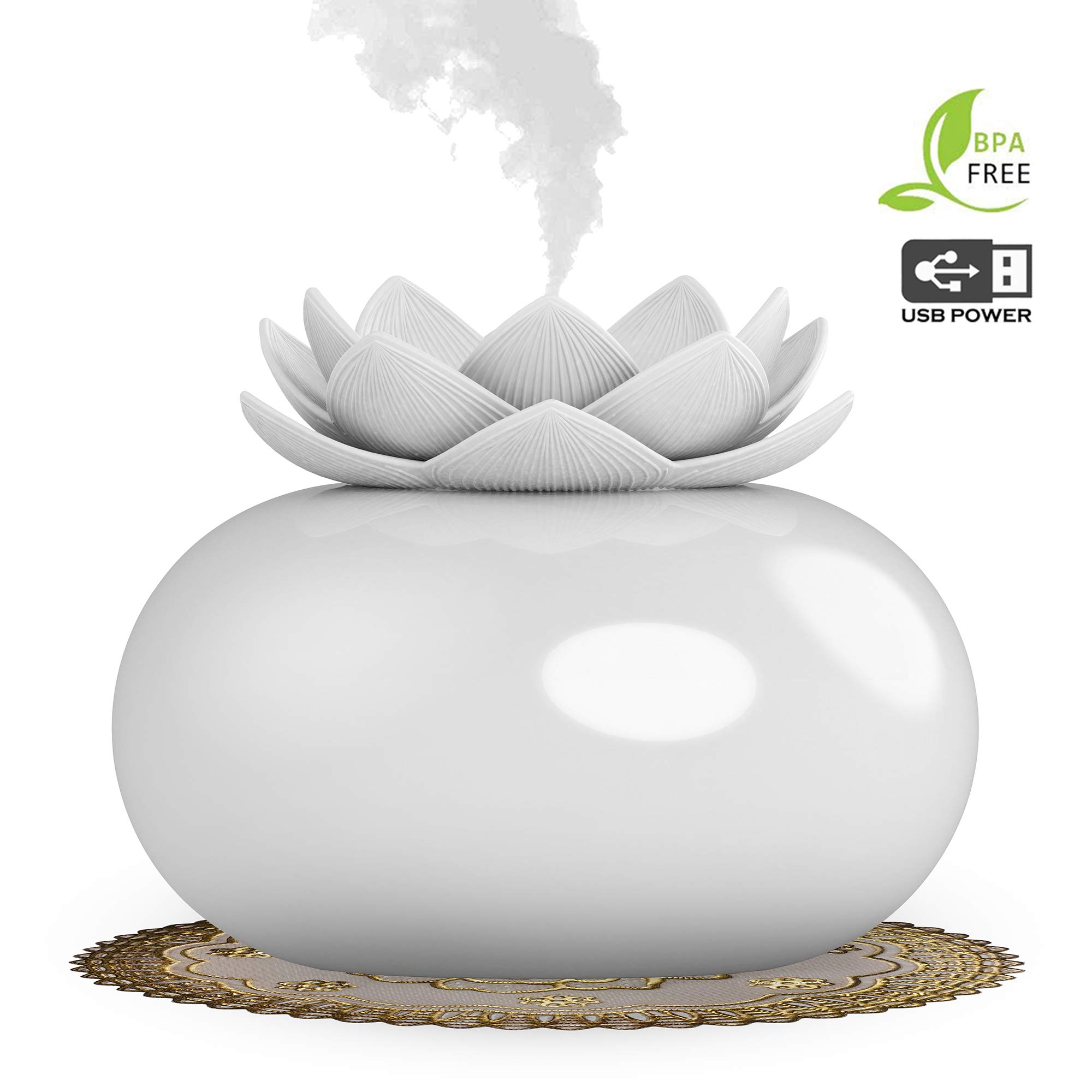 YJY Flower Essential Oil Diffuser Decorative Aromatherapy Diffuser,Cute Lotus Ceramic Humidifier Crafts Ornaments,USB Timer 12 Hours Portable for Home Bedroom Office Yoga SPA(White)