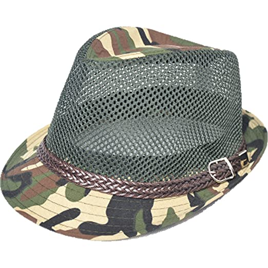 e2bcef2dfb5c3 U2BUY Unisex Camouflage Fedora Hat Summer Outdoor Mesh Cap Hollow Hats  Breathable (Green)