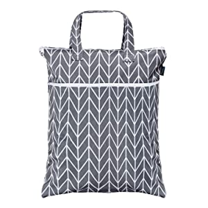 Teamoy Travel Hanging Wet Dry Bag Organizer (17.3 x 13.4 inches) with Two Compartments for Cloth Diaper, Laundry, Swimsuits and More, Easy to Hang Everywhere(M, Gray Arrow)
