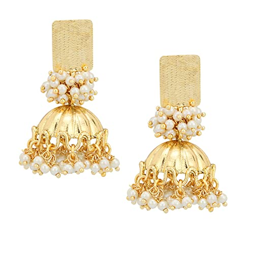 5b85bdf26a981f Stylepotion Ethnic South Indian Designer 22K Gold Plated Pearl Traditional  Alloy Stud Jhumki Earrings For Women