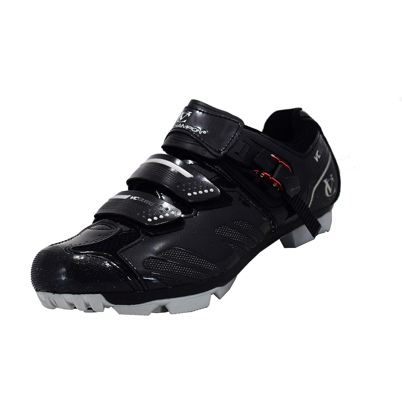 VeloChampion Zapatillas de Ciclismo Elite SPD MTB para Hombre y Mujer, Ideal para Montaña, Ciclocross y Ciclismo XC en Negro/Plata + Calcetines Incluidos: ...