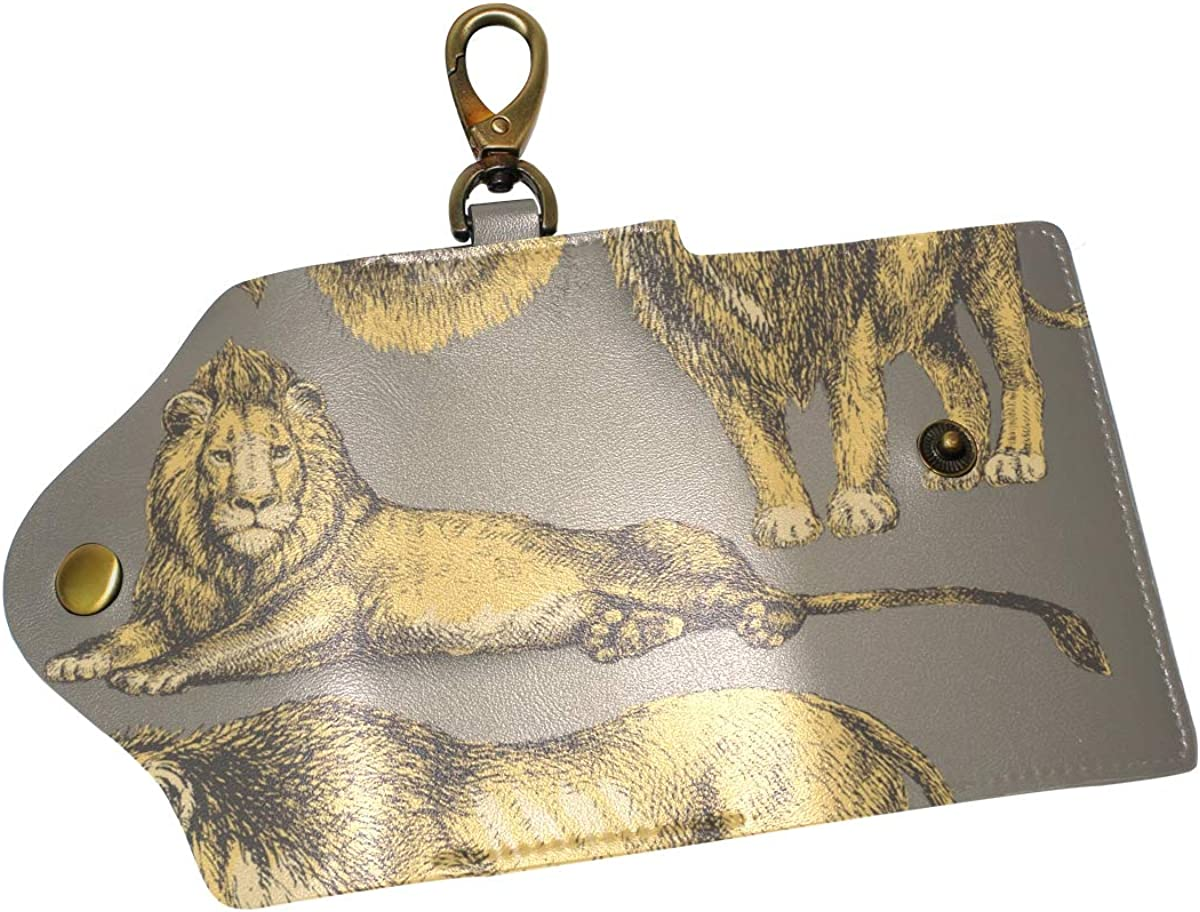 KEAKIA Big Lion Leather Key Case Wallets Tri-fold Key Holder Keychains with 6 Hooks 2 Slot Snap Closure for Men Women