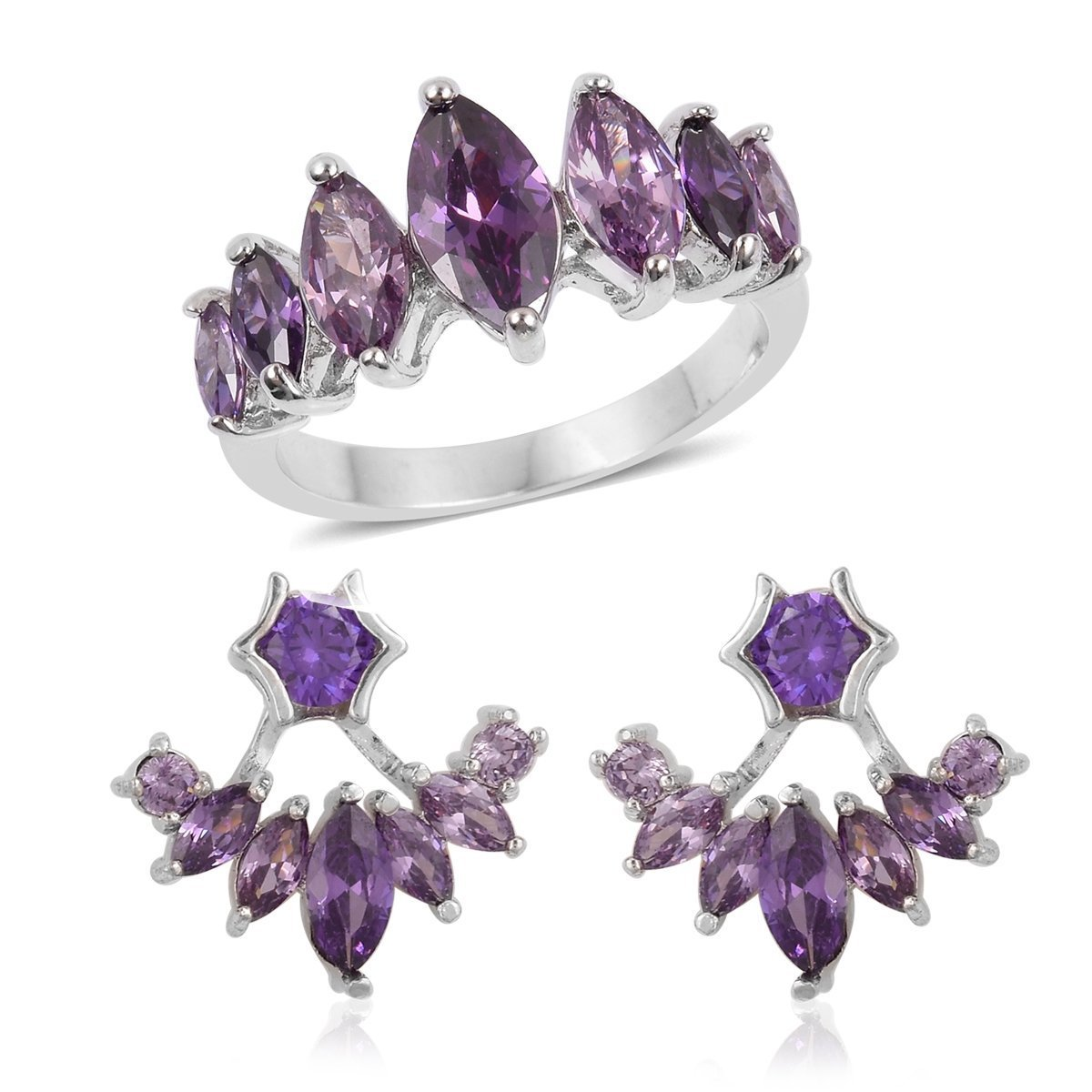 Round Cubic Zircon Purple Silvertone Ring Size 9 Stud Earring Set for Women Cttw 2.9 by Shop LC