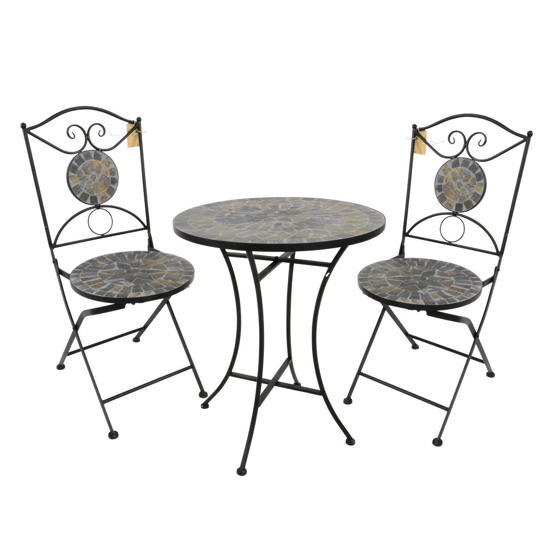 3tlg. Mosaik Sitzgruppe 2X Klappstuhl Mosaiktisch Ø60cm - Gartengarnitur Gartengarnitur Gartengarnitur Terrassenmöbel Balkonmöbel Sitzgruppe 140e31