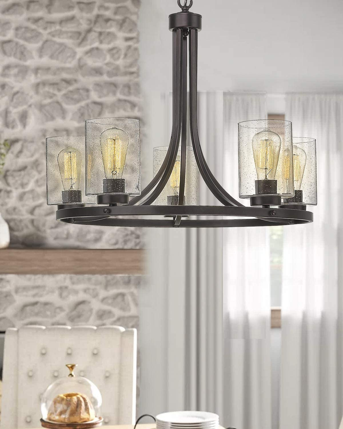 5-Light Wagon Wheel Chandelier, Beionxii 26 Farmhouse Contemporary Large Pendant Chandelier Lighting Fixture Oil Rubbed Bronze with Clear Seeded Glass