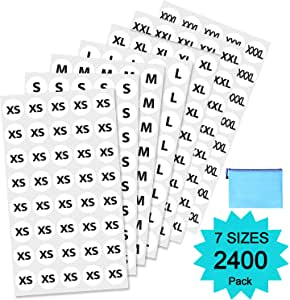 """Clothing Size Stickers by Yoklili – 3/4"""" White Adhesive Apparel Circle Size Labels, All 7 Sizes (XS/S/M/L/XL/XXL/XXXL), Pack of 2400, Bonus Zipper File Bag Included"""