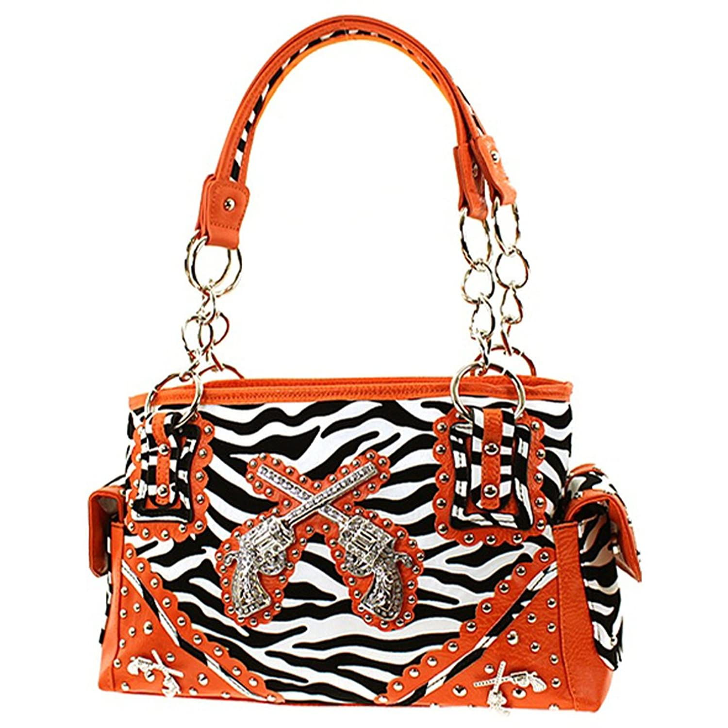 Western Cowgirl Guns Zebra Print Satchel Purse